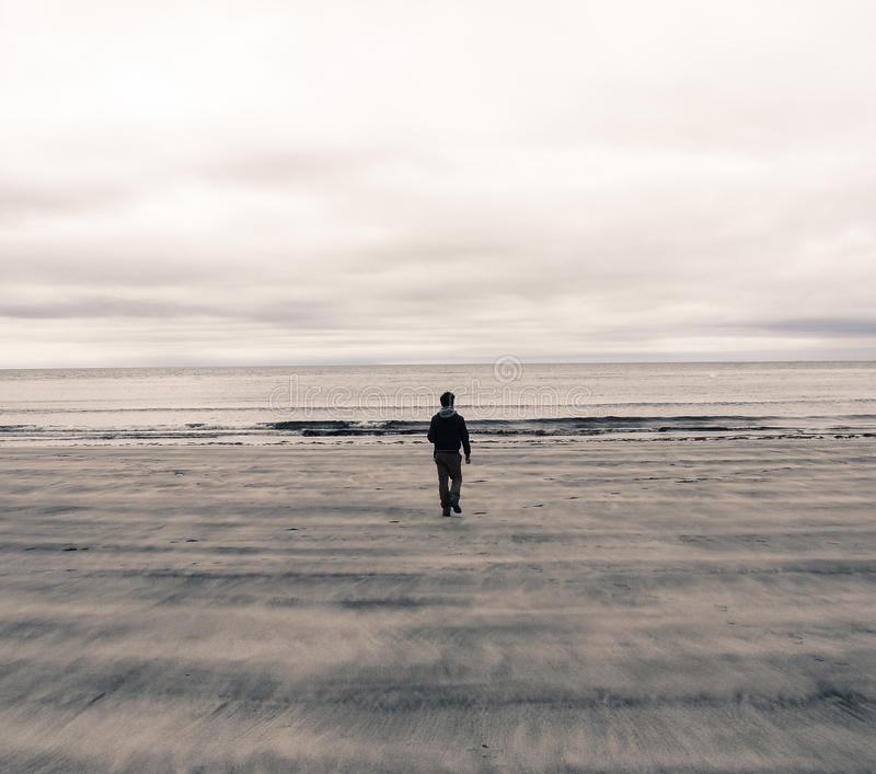 Download Picture Of A Man From Behind Walking On A Beach In Scotland (UK) Stock Image - Image: 37275423