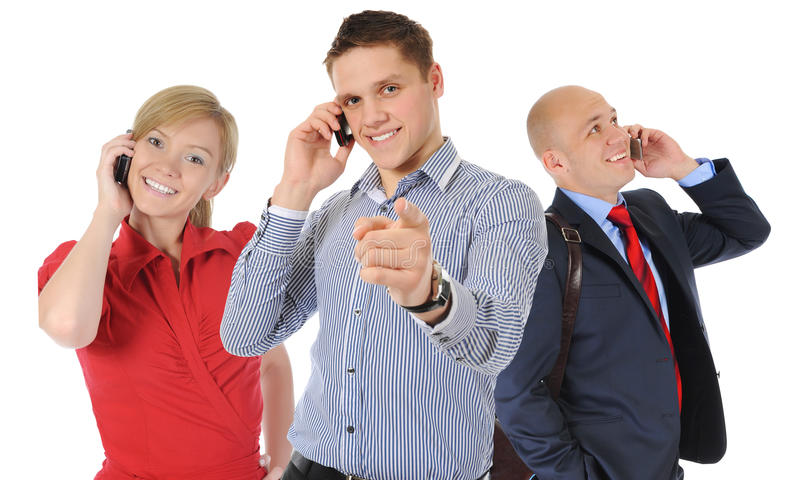 Picture of man and woman with cell phones stock photo