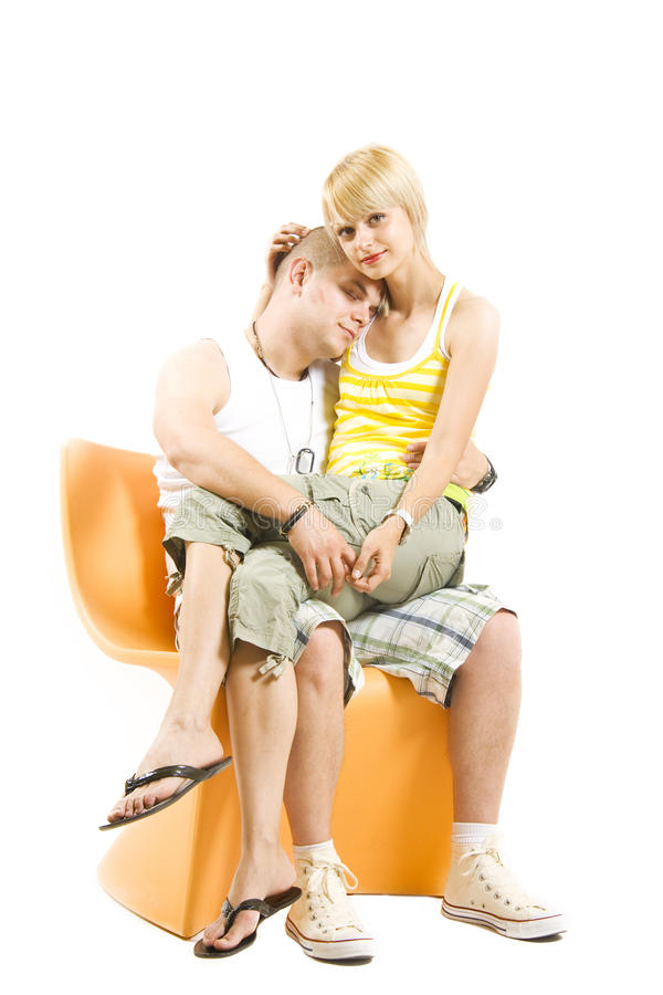 Picture of a man and woman on chair royalty free stock photo