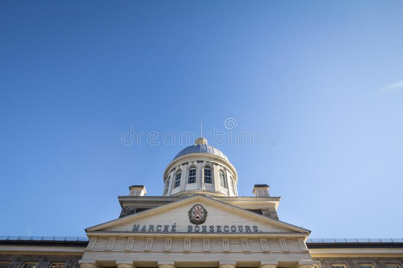 Marche Bonsecours in Montreal, Quebec, Canada, during a sunny afternoon, with the old coat of arms of the city. royalty free stock images
