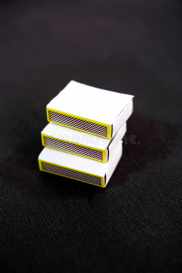 Picture of match box. Isolated on the black background royalty free stock photos