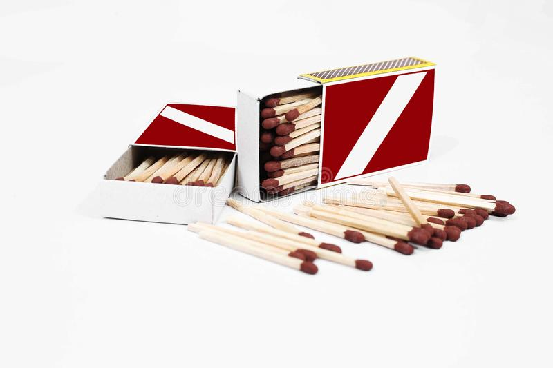 Picture of Matches with match box collection. Isolated on the white background stock images