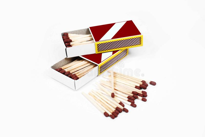 Picture of Matches with match box collection. Isolated on the white background stock photos