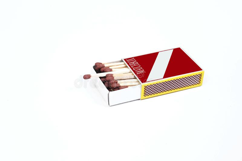Picture of matches in the match box. Isolated on the white background stock photos