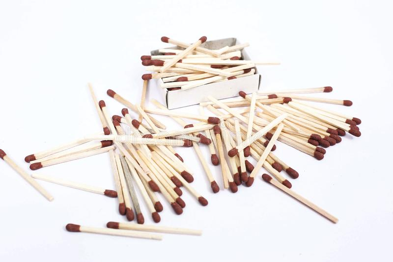 Picture of matchsticks with match box. Isolated on the white background stock photo