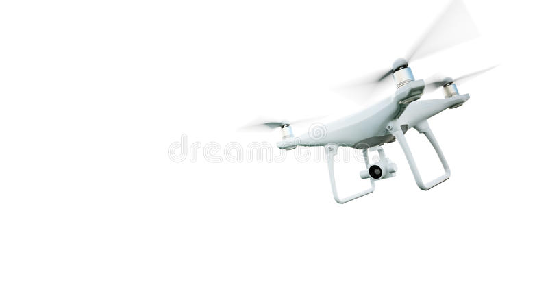 Picture Matte Generic Design Modern Remote Control Air Drone Flying with action camera. Isolated on Empty White. Background. Horizontal . 3D rendering
