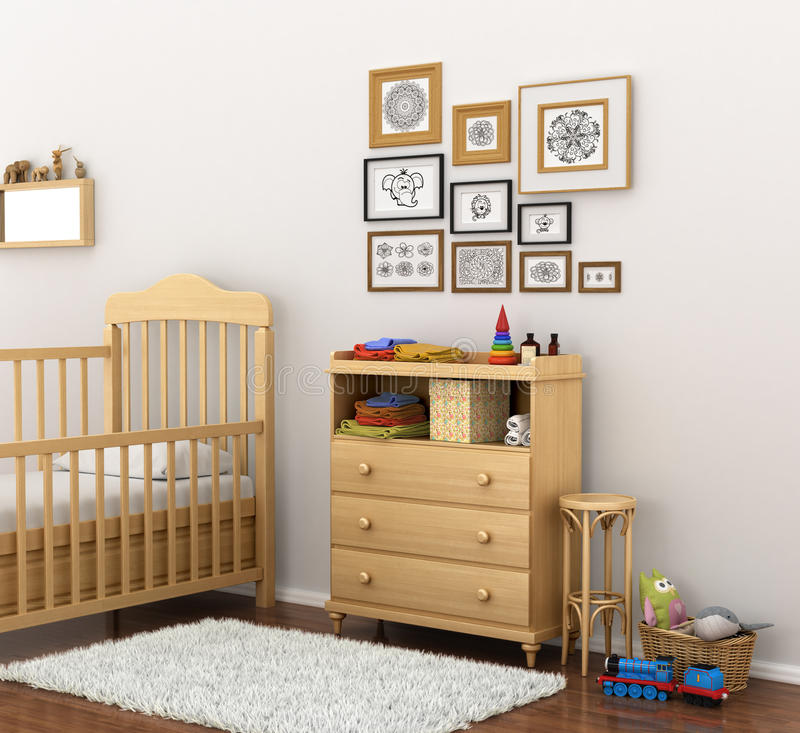 Picture of a modern baby room. 3D illustration stock illustration
