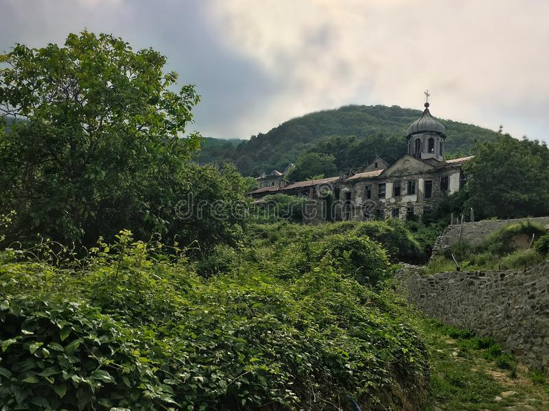 Monastery in Agion Oros. Picture of a monastery inside the forest. This was taken in Agion Oros in Greece stock photos