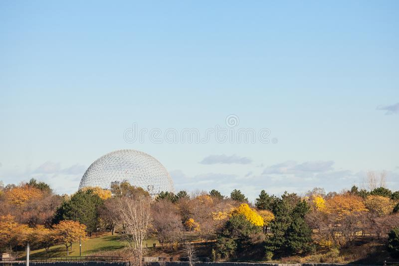 Montreal Biosphere, on Ile Sainte Helene Island, in Jean Drapeau park, taken during an autumn afternoon. royalty free stock photos