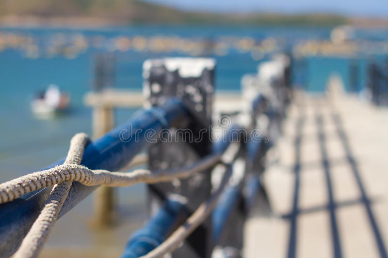 Picture of mooring rope. Close-up of a mooring rope stock images