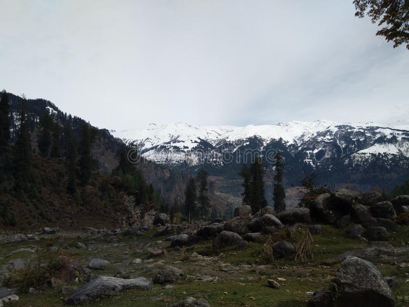 Picture of a mountain hills at solang valley. Picture of a mountain hills snow at manali solang valley hills trekking winters traveling tours royalty free stock photography