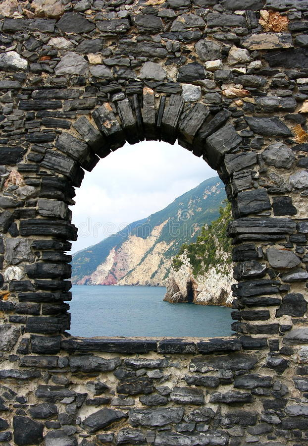Portovenere - Italy - Picture of natural stone frame royalty free stock photo