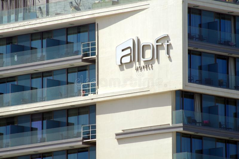 Picture of a new Aloft hotel facade. Aloft Hotels is a hotel chain based in North America, owned by Starwood. Picture of a brand new Aloft hotel facade royalty free stock images
