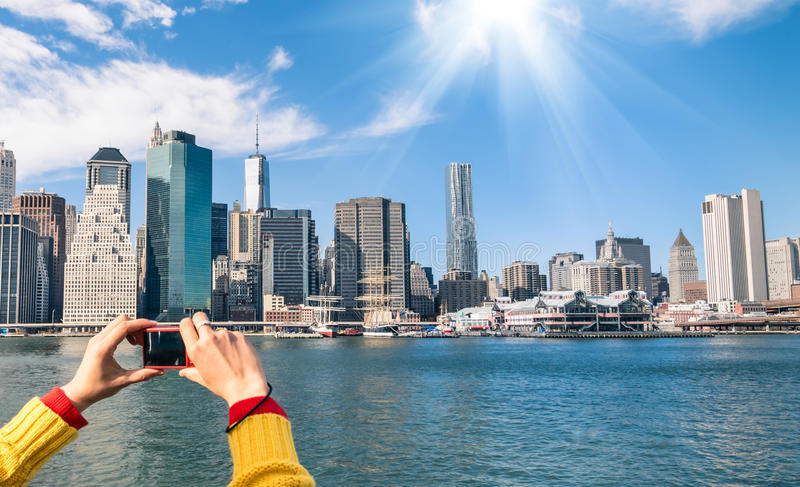 Picture of New York Skyline from river Hudson - Digital pocket C royalty free stock photo