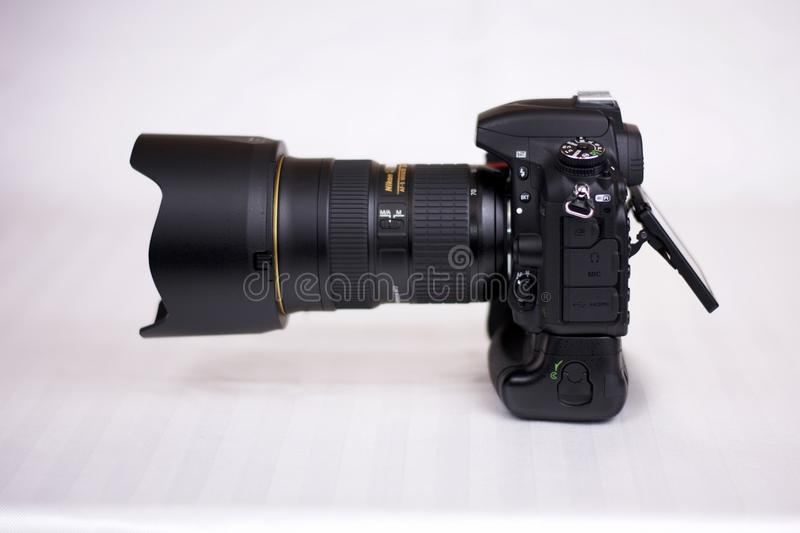 Nikon D750 with MB16. Picture of a Nikon D750 camera with a MB16 battery grip. Shown with a 24-70 mm lens royalty free stock image