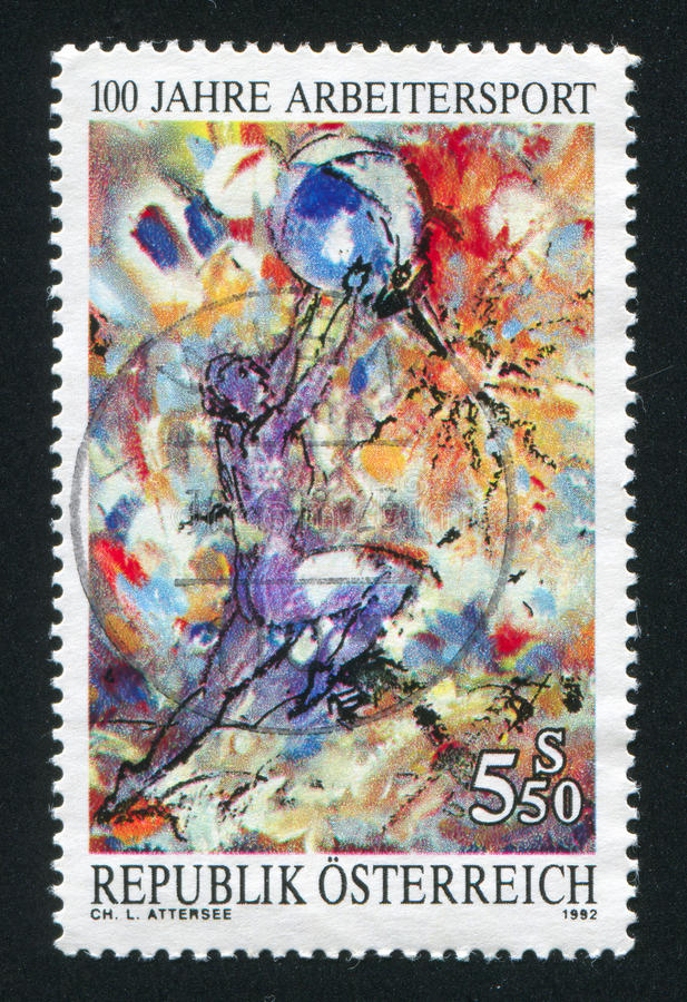Picture of a nude man with a ball. AUSTRIA - CIRCA 1992: stamp printed by Austria, shows picture of a nude man with a ball, circa 1992 stock images