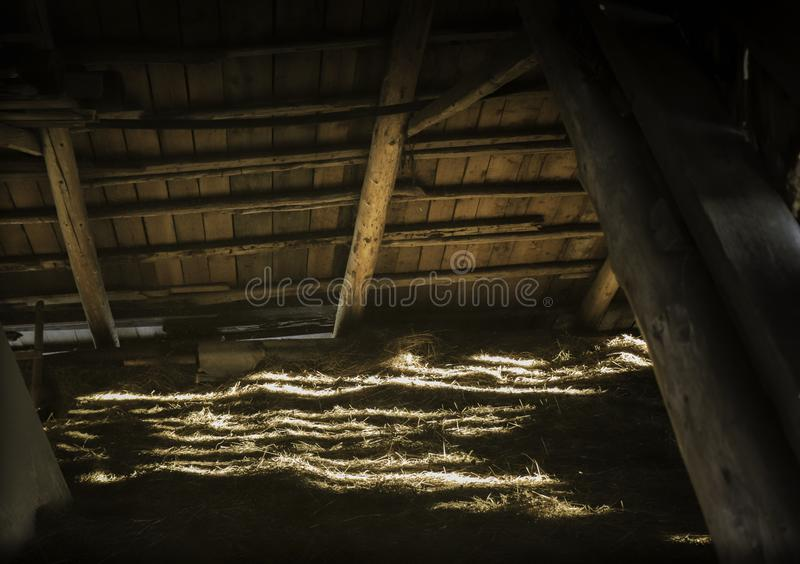 Old shed`s attic royalty free stock photo