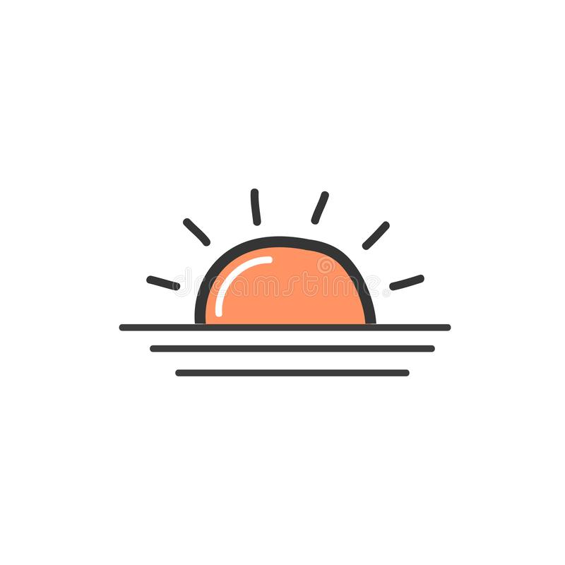 Picture of orange the sunrise. A symbol of the weather. Vector doodle illustration stock illustration