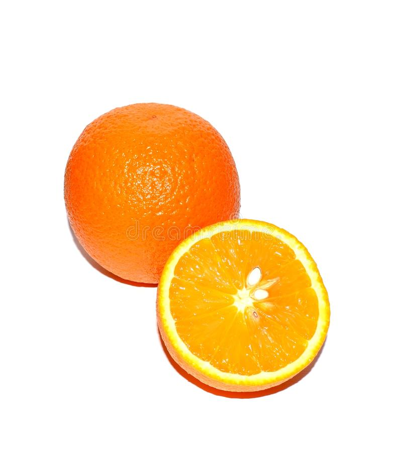 Healthy lifestyle. Photo of an orange on a white background. Tropics, citrus fruit, vitamins. stock photo