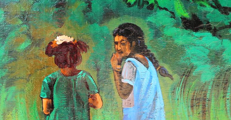 A picture of painted onto a wall in Chennai, India royalty free illustration