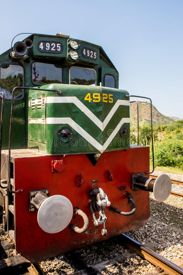 Picture of Pakistan Rail engine in Nowshera Peshawar. Nowshera, PAKISTAN - Sept 27: Picture of Pakistan Rail engine in Nowshera Peshawar , on 27 Sept, 2015 royalty free stock photo