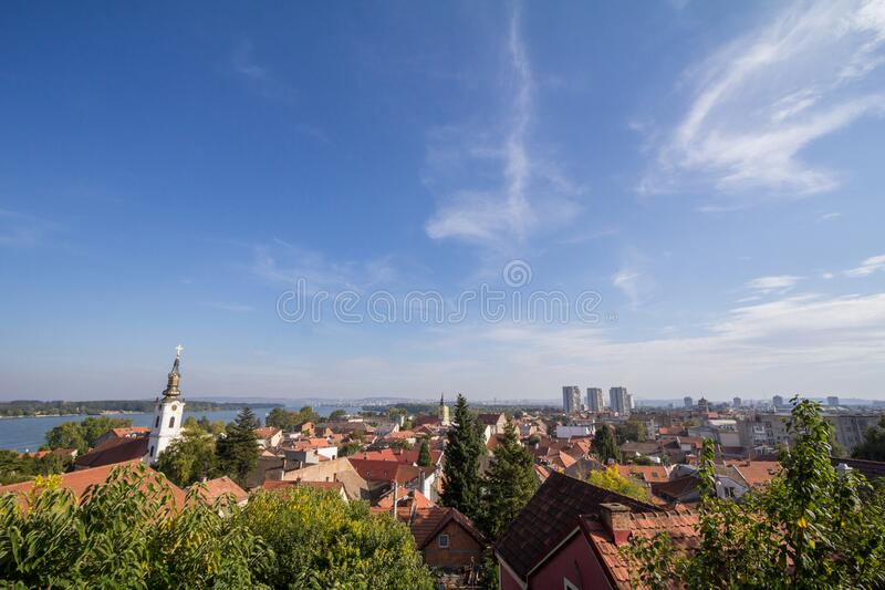 Aerial view of Zemun district, seen from the panoramic location of Gardos, in Belgrade, Serbia, during a sunny afternoon. Picture of a panoramic view of Zemun royalty free stock image