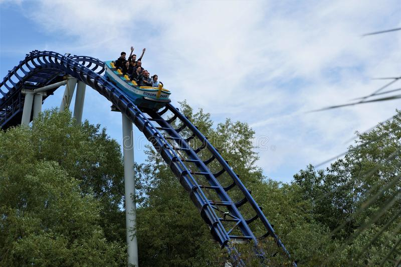 People on a roller-coaster in Europa park stock image