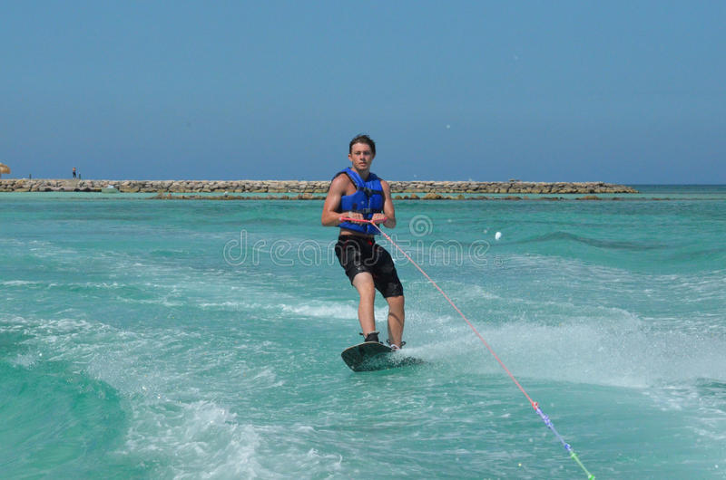 A Picture Perfect Day Wakeboarding in Aruba. An absolutely perfect day wakeboarding in Aruba royalty free stock images