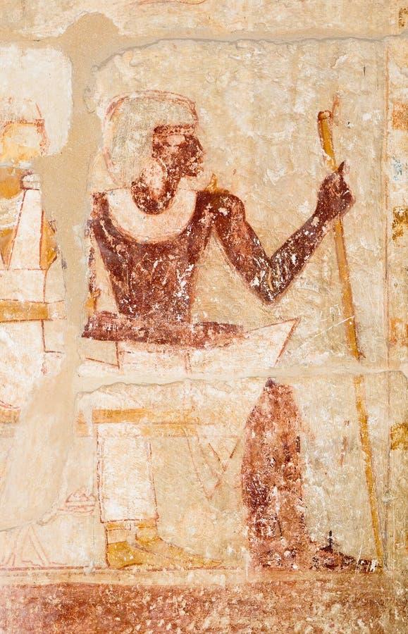 Picture of pharaoh on the wall, Saqqara, Egypt royalty free stock photo