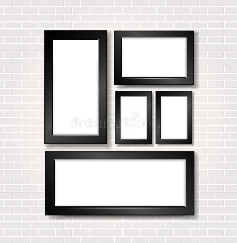 Picture and photo frame on white brick wall royalty free illustration