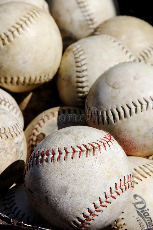 Pile of baseballs. A picture of a pile of baseballs at a flea market stock images