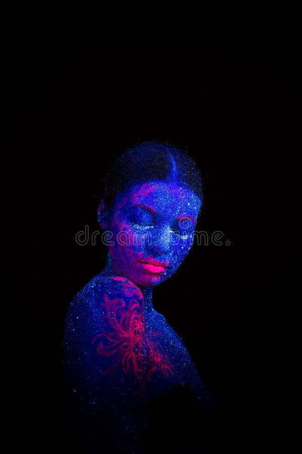 Picture of a pink jellyfish on the shoulder and face. Blue girl alien sleeps. vector illustration