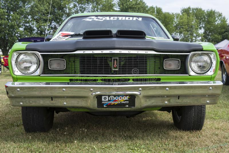 Plymouth duster front end. Picture of plymouth duster front end during convention chrysler at st liboire august 4-5 2018 stock images