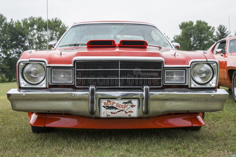 Plymouth road runner front end. Picture of plymouth road runner front end during convention chrysler at st liboire august4-5 2018 stock image
