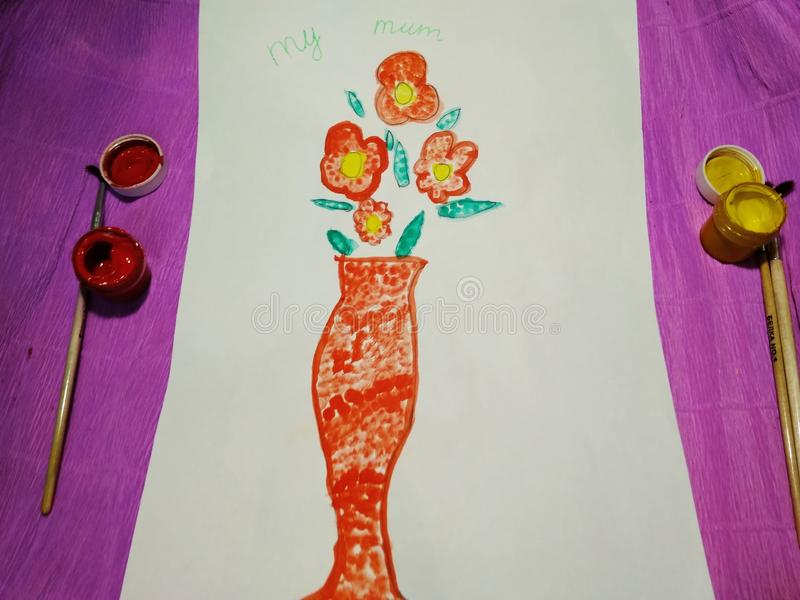 Picture postcard for Mother`s Day from a child royalty free stock photo