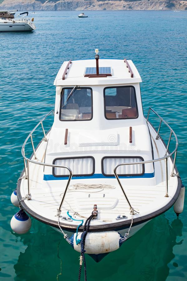 Private boat on the adriatic sea stock photography