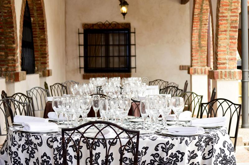Picture of a ready table for the celebration of a wedding. royalty free stock images