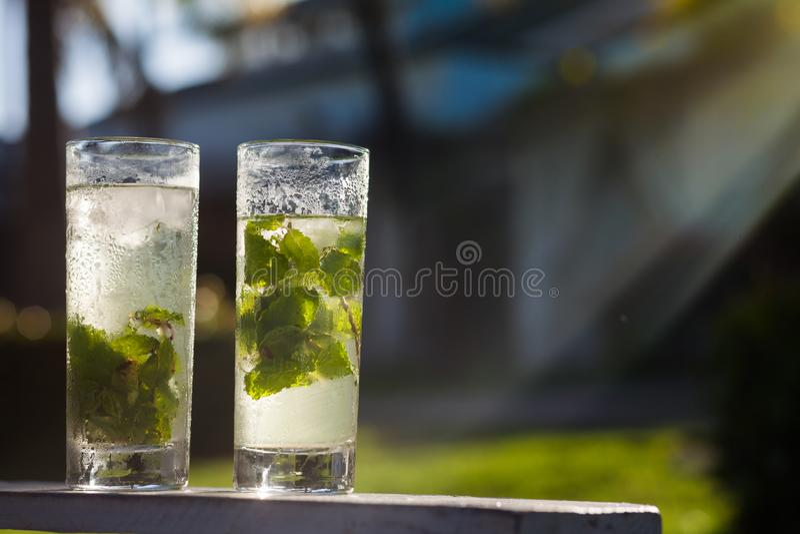 Picture or refreshening mojito cocktail. Cuba, Cayo Largo. Caribbean stock photo