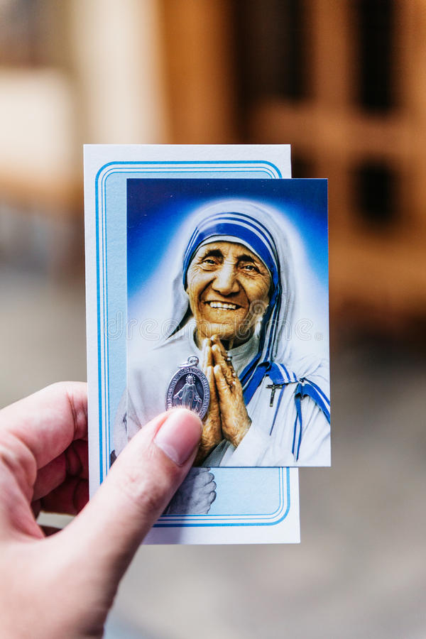 The picture and relic of Saint Teresa of Calcutta in the Missionaries of Charity in Kolkata, India. The picture and relic of Saint Teresa of Calcutta in the royalty free stock images