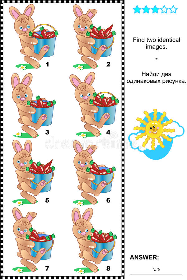 Picture riddle - find two identical images of bunnies and carrots royalty free stock photo