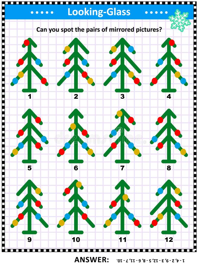 Picture riddle with mirrored pictures of abstract christmas trees vector illustration