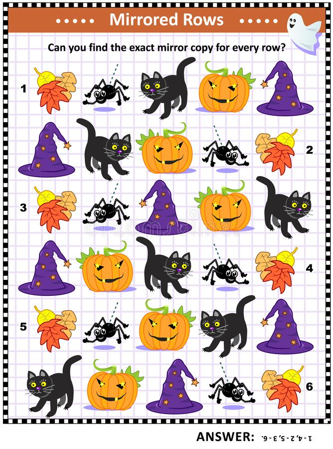 Picture riddle with rows of Halloween icons stock illustration