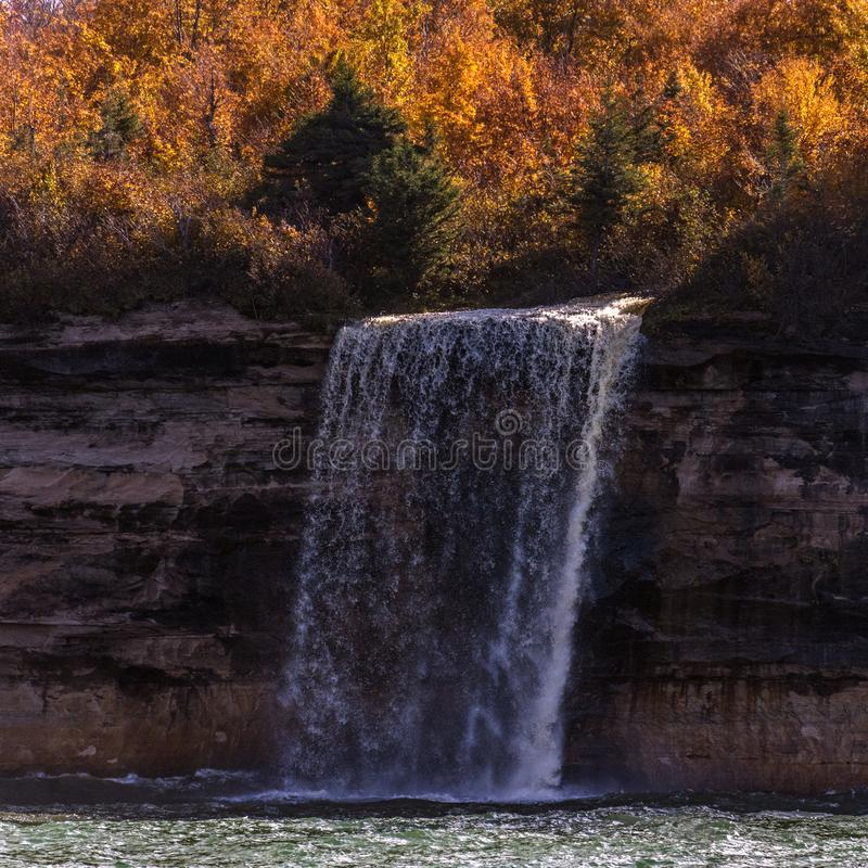 Picture Rock Boat Cruise; Munising, Michigan; Spray Falls royalty free stock photos