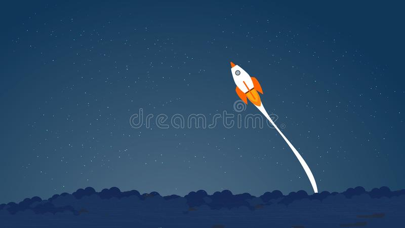 Picture of rocket flying above clouds, business startup banner concept, flat style illustration. Succes concept, pass royalty free illustration