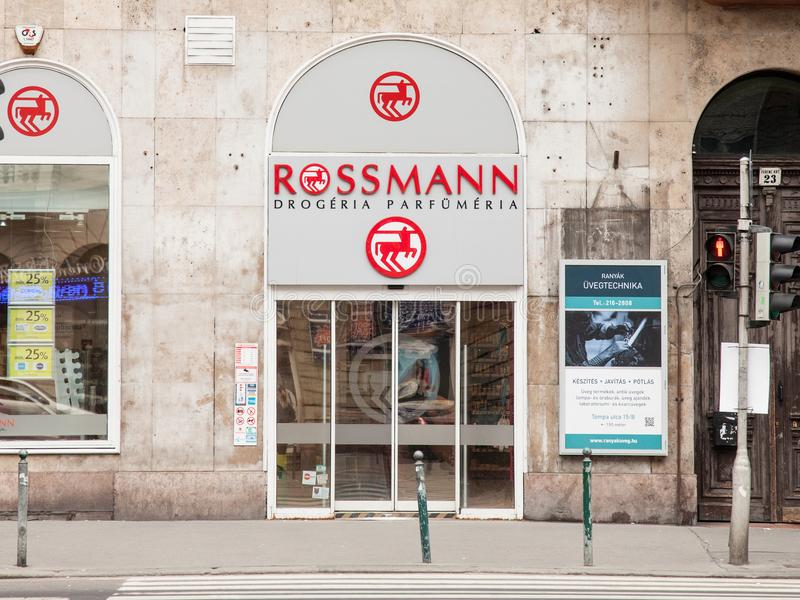 Rossmann logo on one of their shops for Hungary. Rossmann is a German Cosmectics and drug store brand developped in Central Europe royalty free stock images