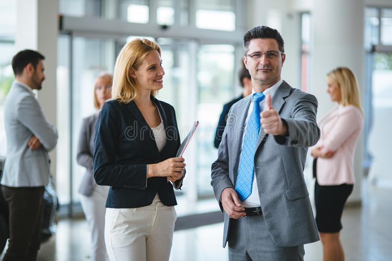 Picture of sales agents working together in office stock photos