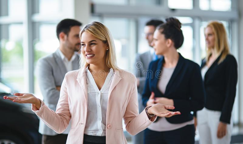 Picture of sales agents working together in office. Picture of sales agents working together in company office royalty free stock photo