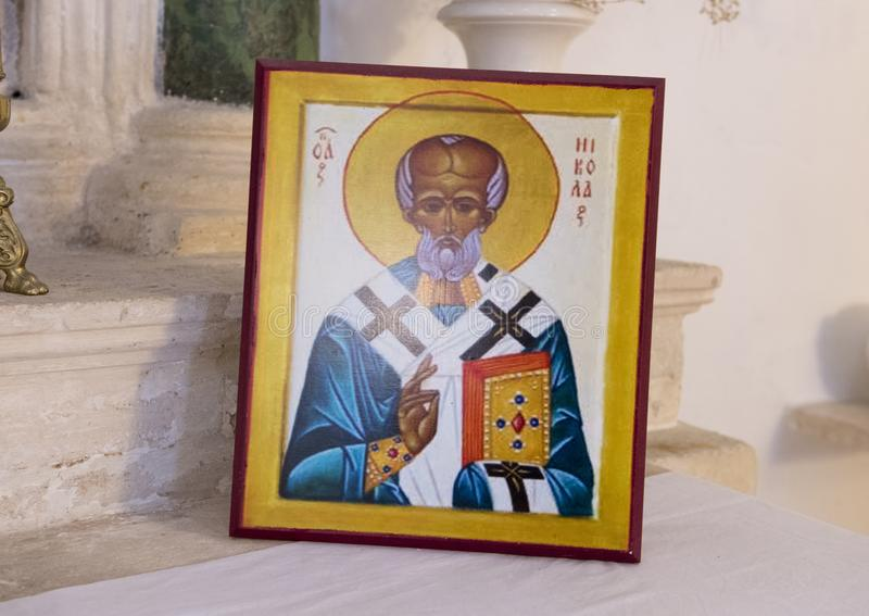 Picture of San Nicola from Myra. Pictured is a picture of San Nicola from Myra on the altar of the Church of San Nicola in Locorotondo, Italy. San Nicola was royalty free stock images