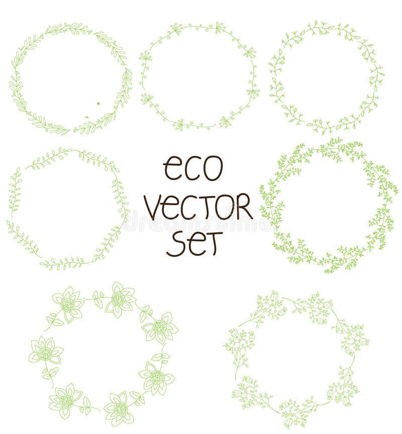 Picture set of wreaths from branches of plants. Nice picture set of wreaths from branches of plants in a circle of green color for the logo, label printing royalty free illustration