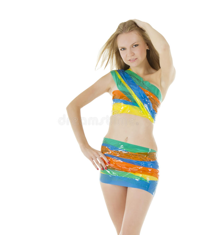 Picture Of Woman In Color Scotch Tape Stock Images